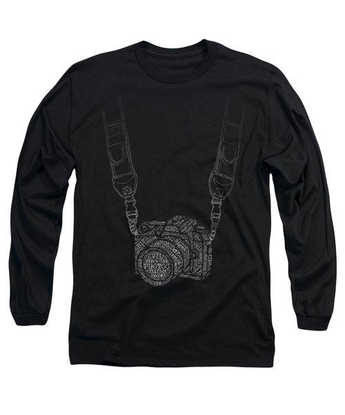 Photography Slang Word Cloud Camera Long Sleeve T-Shirt by Felikss Veilands