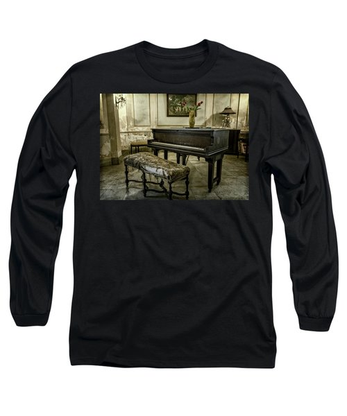 Long Sleeve T-Shirt featuring the photograph Piano At Josie's House by Joan Carroll