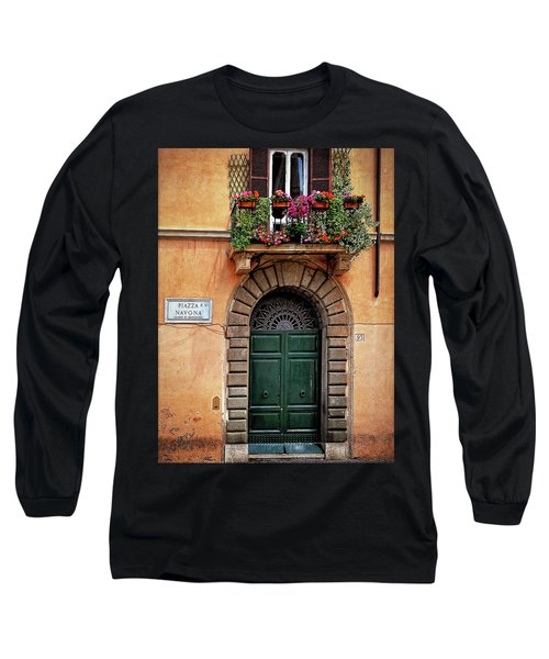 Long Sleeve T-Shirt featuring the photograph Piazza Navona House by Marion McCristall