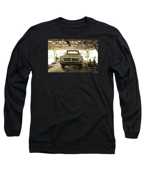 Pick Up Truck In Rural Farm Setting Long Sleeve T-Shirt by Perry Van Munster