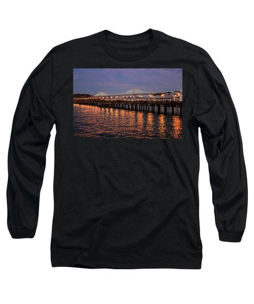 Pier 7 And Bay Bridge Lights At Sunset Long Sleeve T-Shirt