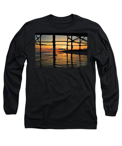 Oak Island Pier Sunset Long Sleeve T-Shirt