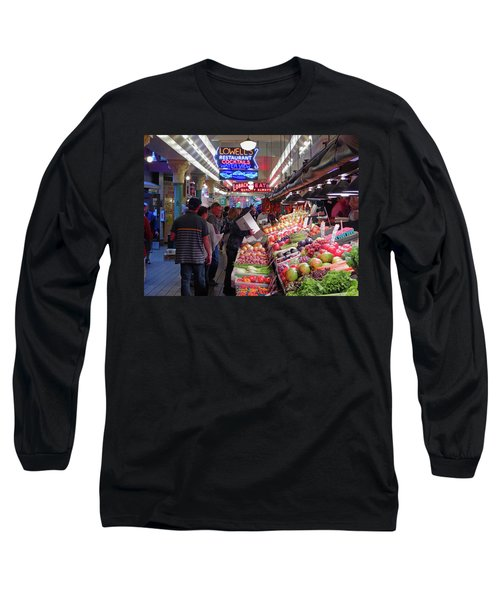 Long Sleeve T-Shirt featuring the photograph Pike Market Fruit Stand by Walter Fahmy