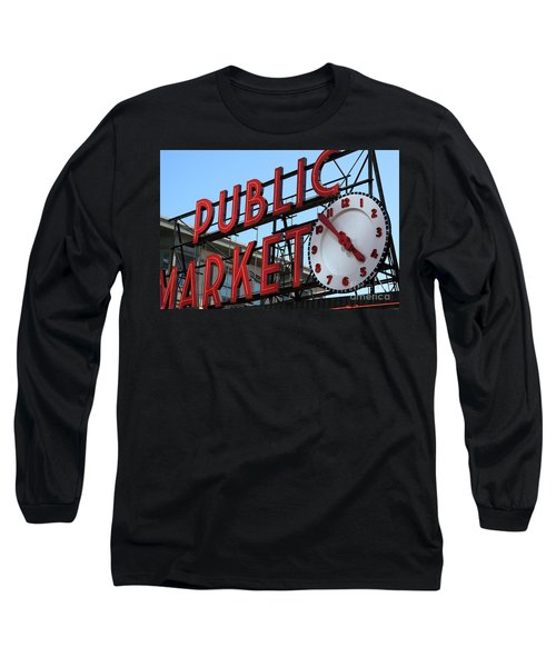 Long Sleeve T-Shirt featuring the photograph Pike Street Market Clock by Peter Simmons