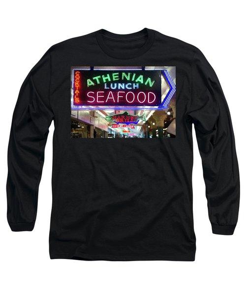Pike Street Market Neon, Seattle Long Sleeve T-Shirt by Greg Sigrist