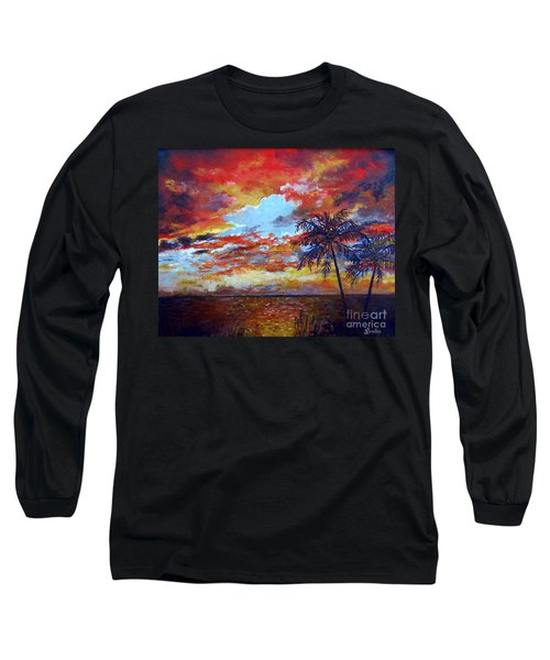 Long Sleeve T-Shirt featuring the painting Pine Island Sunset by Lou Ann Bagnall