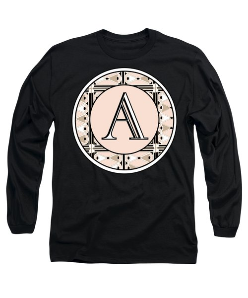 Pink Champagne Deco  Monogram  A Long Sleeve T-Shirt