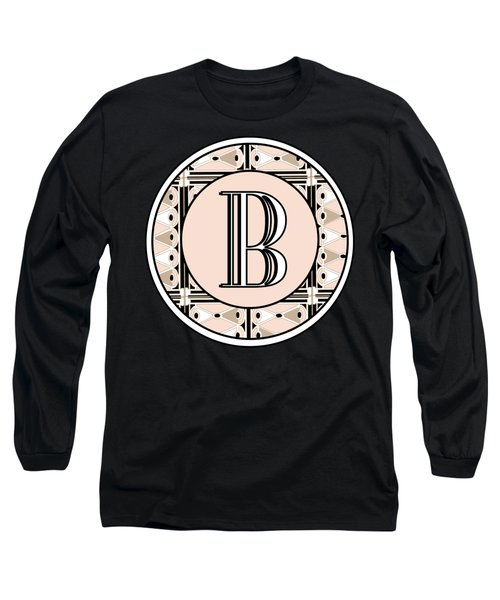 Pink Champagne Deco Monogram  B Long Sleeve T-Shirt