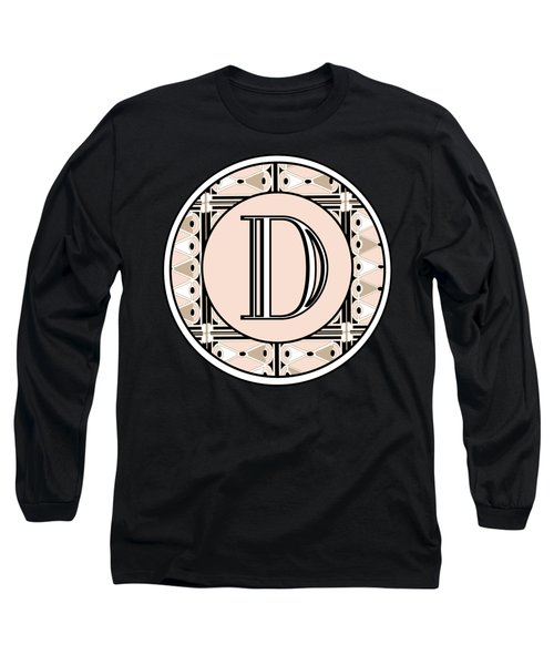 Pink Champagne Deco Monogram  D Long Sleeve T-Shirt