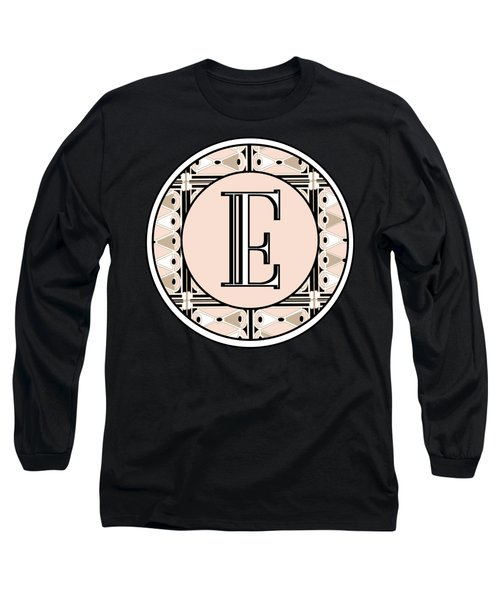 Pink Champagne Deco Monogram  E Long Sleeve T-Shirt
