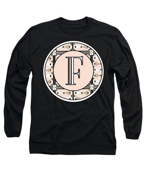 Pink Champagne Deco Monogram  F Long Sleeve T-Shirt