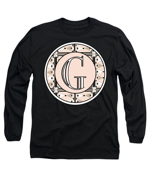 Pink Champagne Deco Monogram  G Long Sleeve T-Shirt
