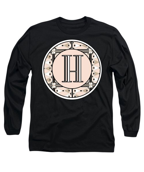 Pink Champagne Deco Monogram  H Long Sleeve T-Shirt