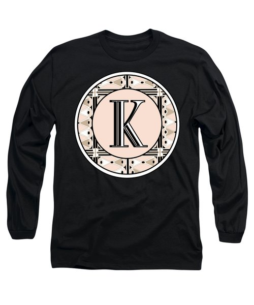 Pink Champagne Deco Monogram  K Long Sleeve T-Shirt