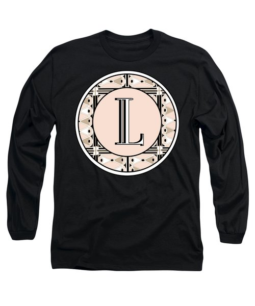 Pink Champagne Deco Monogram  L Long Sleeve T-Shirt