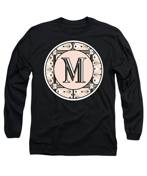 Pink Champagne Deco Monogram  M Long Sleeve T-Shirt