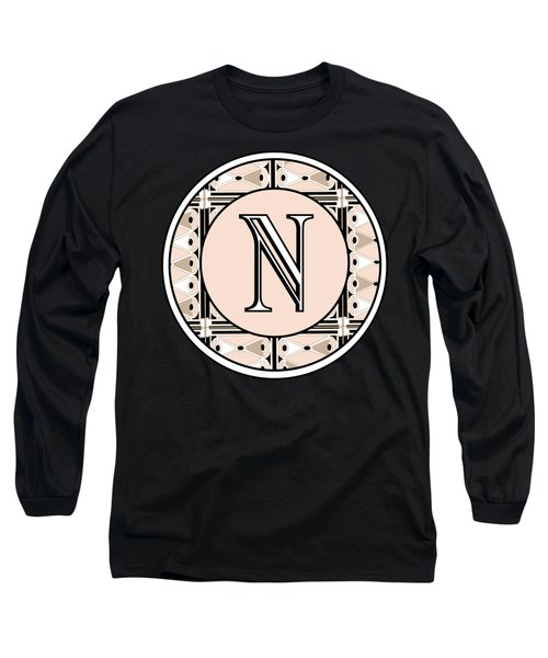 Pink Champagne Deco Monogram  N Long Sleeve T-Shirt