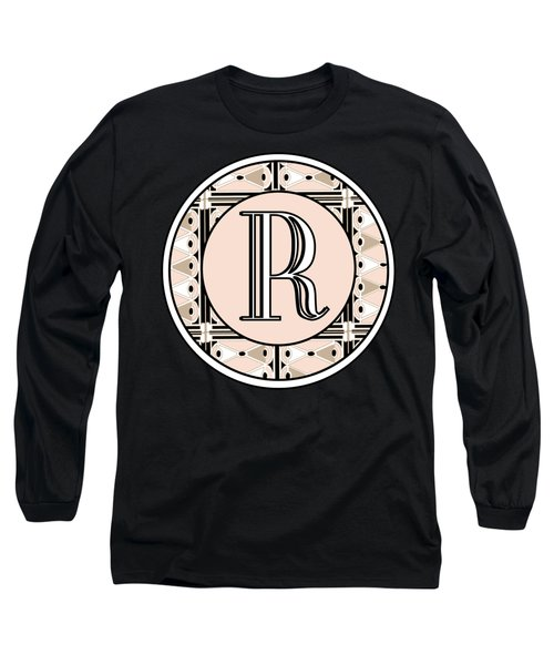 Pink Champagne Deco Monogram  R Long Sleeve T-Shirt