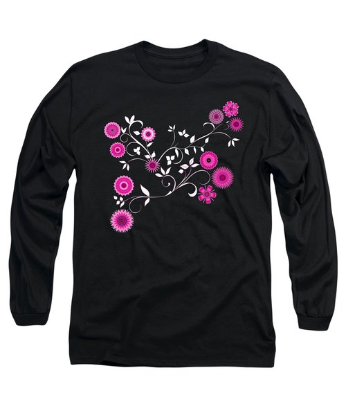 Pink Floral Explosion Long Sleeve T-Shirt by Methune Hively