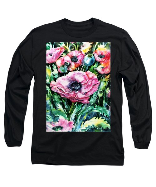 Long Sleeve T-Shirt featuring the painting Pink Garden Poppies  by Trudi Doyle
