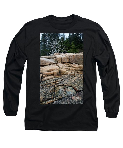 Pink Granite And Driftwood At Schoodic Peninsula In Maine  -4672 Long Sleeve T-Shirt