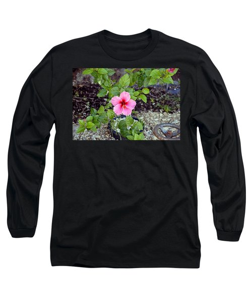 Pink Hibiscus And Wheel Long Sleeve T-Shirt