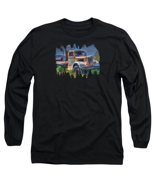 Classic Flatbed Truck In Pink Long Sleeve T-Shirt