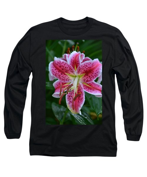 Pink Lily Long Sleeve T-Shirt by Bonnie Myszka