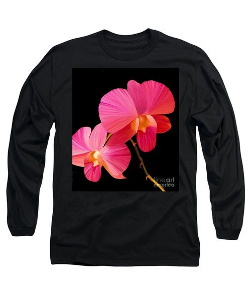 Long Sleeve T-Shirt featuring the painting Pink Lux by Rand Herron