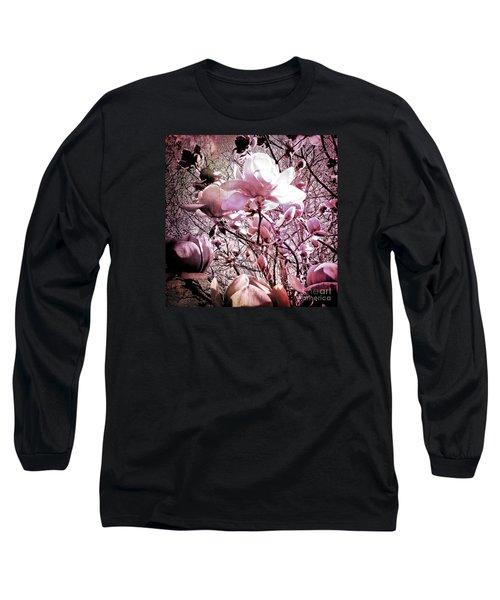 Pink Magnolias Long Sleeve T-Shirt by Karen Lewis