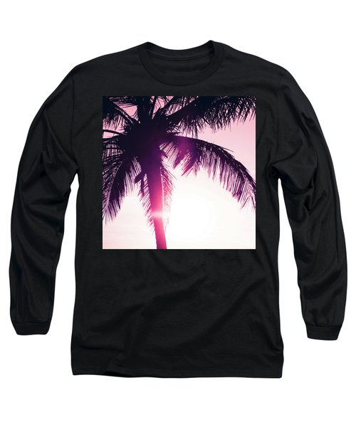 Long Sleeve T-Shirt featuring the photograph Pink Palm Tree Silhouettes Kihei Tropical Nights by Sharon Mau
