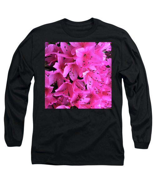 Long Sleeve T-Shirt featuring the photograph Pink Passion In The Rain by Sherry Hallemeier
