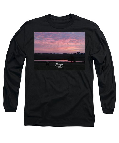 Pink Pond And Cow #5110 Long Sleeve T-Shirt by Barbara Tristan