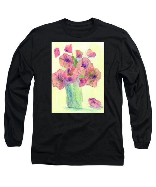 Pink Poppies Long Sleeve T-Shirt by Veronica Rickard