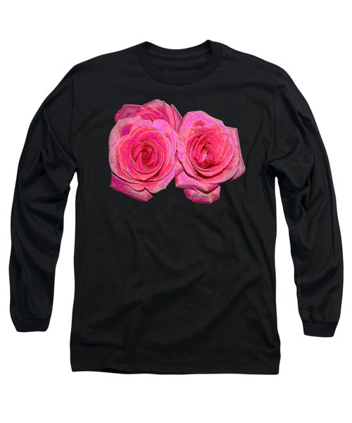 Pink Roses With Enameled Effects Long Sleeve T-Shirt by Rose Santuci-Sofranko