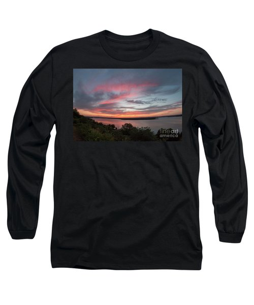 Pink Skies And Clouds At Sunset Over Lake Travis In Austin Texas Long Sleeve T-Shirt