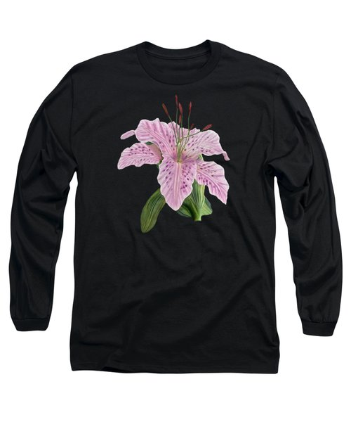 Pink Tiger Lily Blossom Long Sleeve T-Shirt by Walter Colvin
