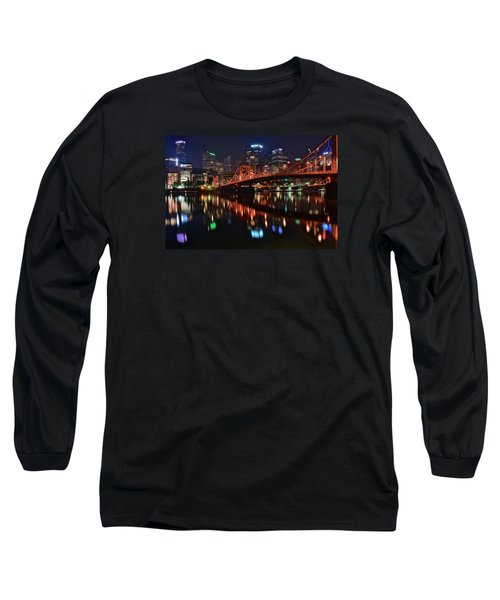 Pittsburgh Lights Long Sleeve T-Shirt by Frozen in Time Fine Art Photography