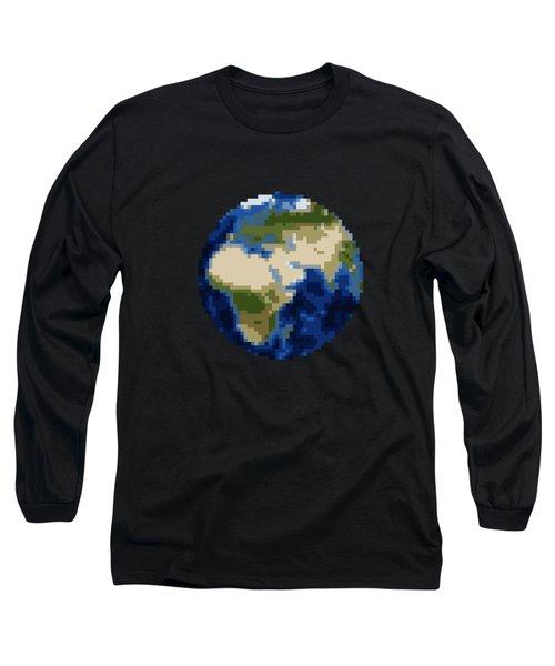 Pixel Earth Design Long Sleeve T-Shirt by Martin Capek