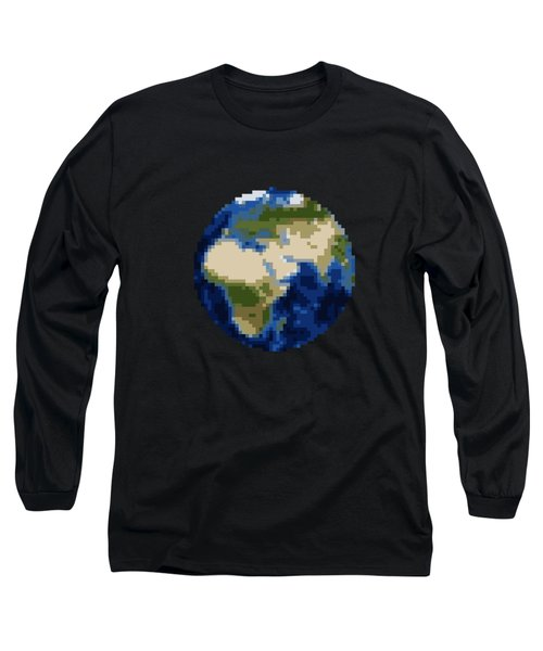 Pixel Earth Design Long Sleeve T-Shirt
