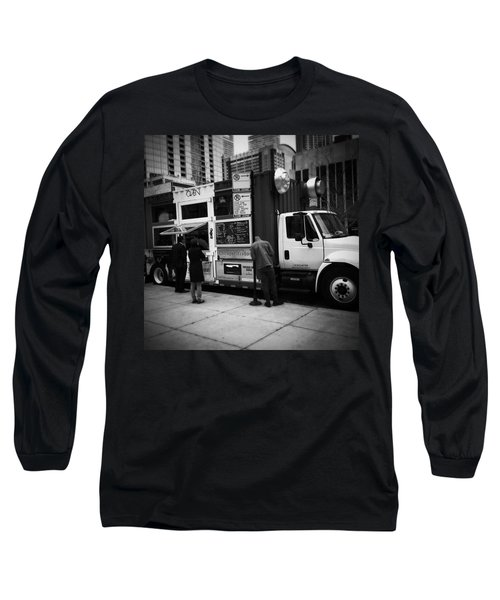 Pizza Oven Truck - Chicago - Monochrome Long Sleeve T-Shirt by Frank J Casella