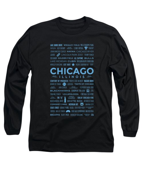 Places Of Chicago Blue On Black Long Sleeve T-Shirt by Christopher Arndt