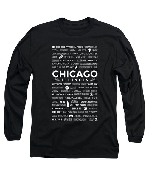 Places Of Chicago On Black Chalkboard Long Sleeve T-Shirt