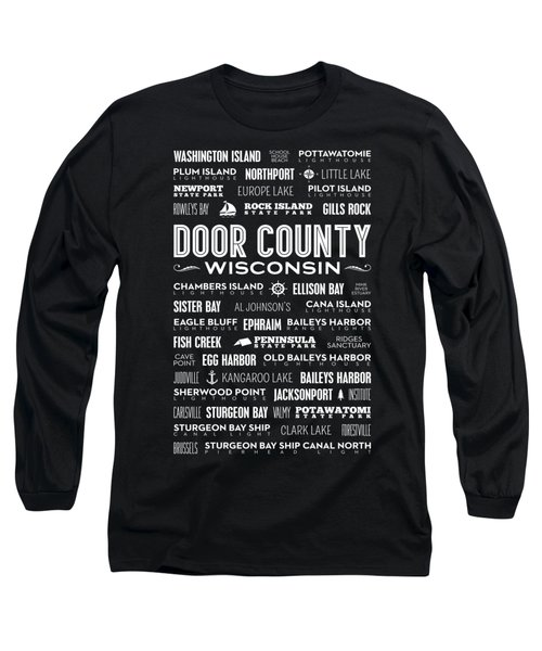 Places Of Door County On Black Long Sleeve T-Shirt