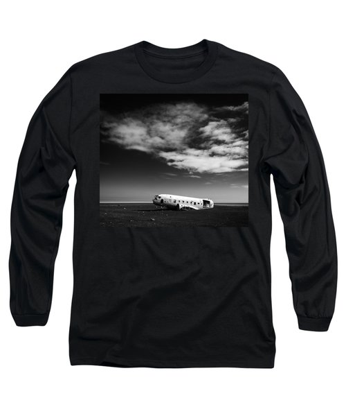 Long Sleeve T-Shirt featuring the photograph Plane Wreck Black And White Iceland by Matthias Hauser