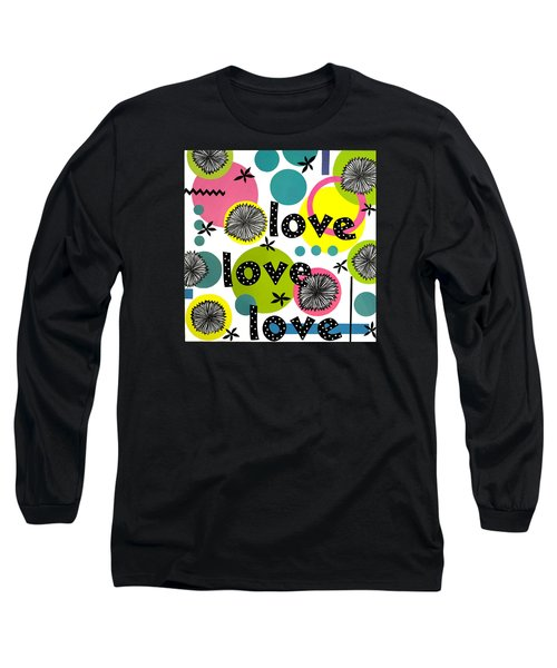 Long Sleeve T-Shirt featuring the mixed media Playful Love by Gloria Rothrock