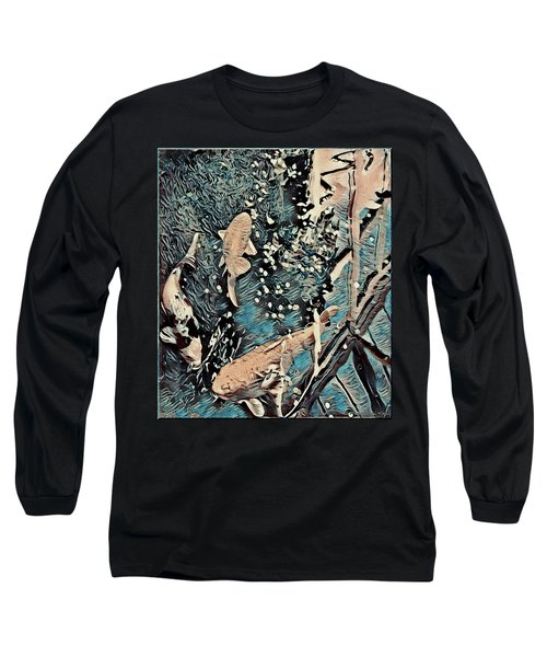 Long Sleeve T-Shirt featuring the digital art Playing It Koi by Mindy Newman