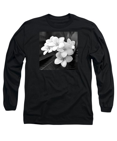 Plumeria - Black And White Long Sleeve T-Shirt by Kerri Ligatich