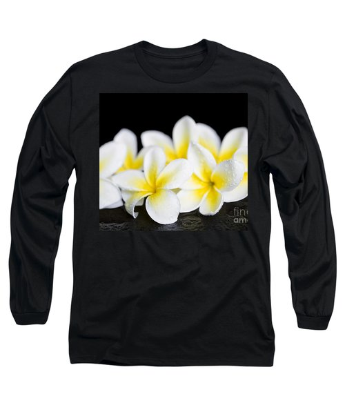 Long Sleeve T-Shirt featuring the photograph Plumeria Obtusa Singapore White by Sharon Mau