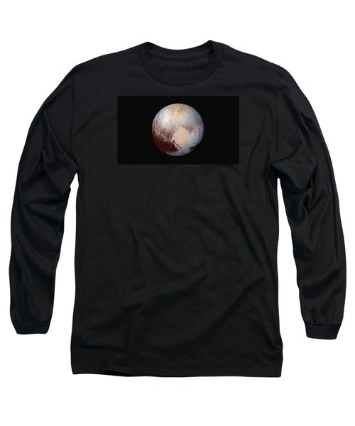 Pluto Dazzles In False Color Long Sleeve T-Shirt by Nasa